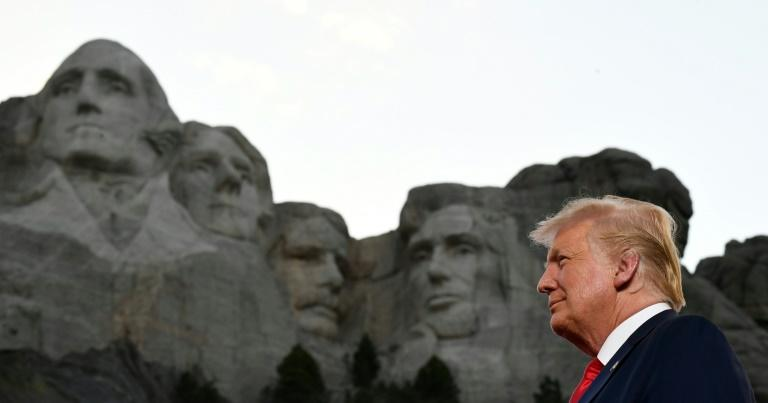 "Trump introduced his plan for a ""heroes"" park in a speech July 3, 2020 near the Mount Rushmore presidential monument in South Dakota (AFP Photo/SAUL LOEB)"