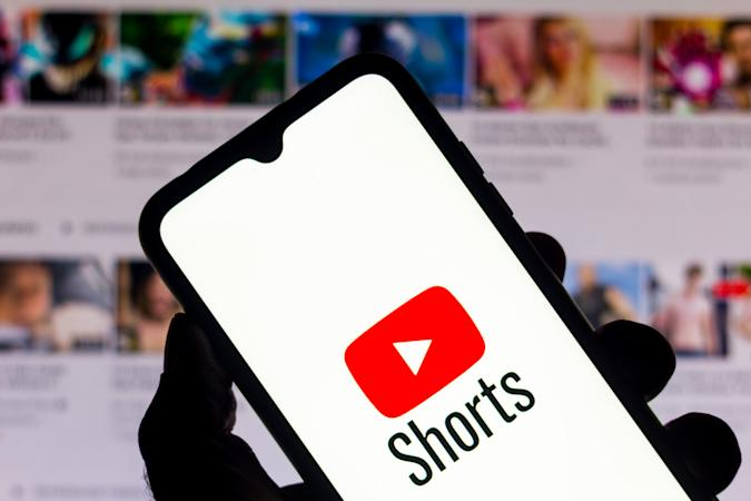 BRAZIL - 2020/09/21: In this photo illustration a YouTube Shorts logo is seen displayed on a smartphone. (Photo Illustration by Rafael Henrique/SOPA Images/LightRocket via Getty Images)