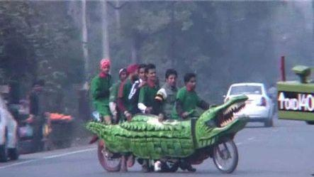 Crocodile on wheels