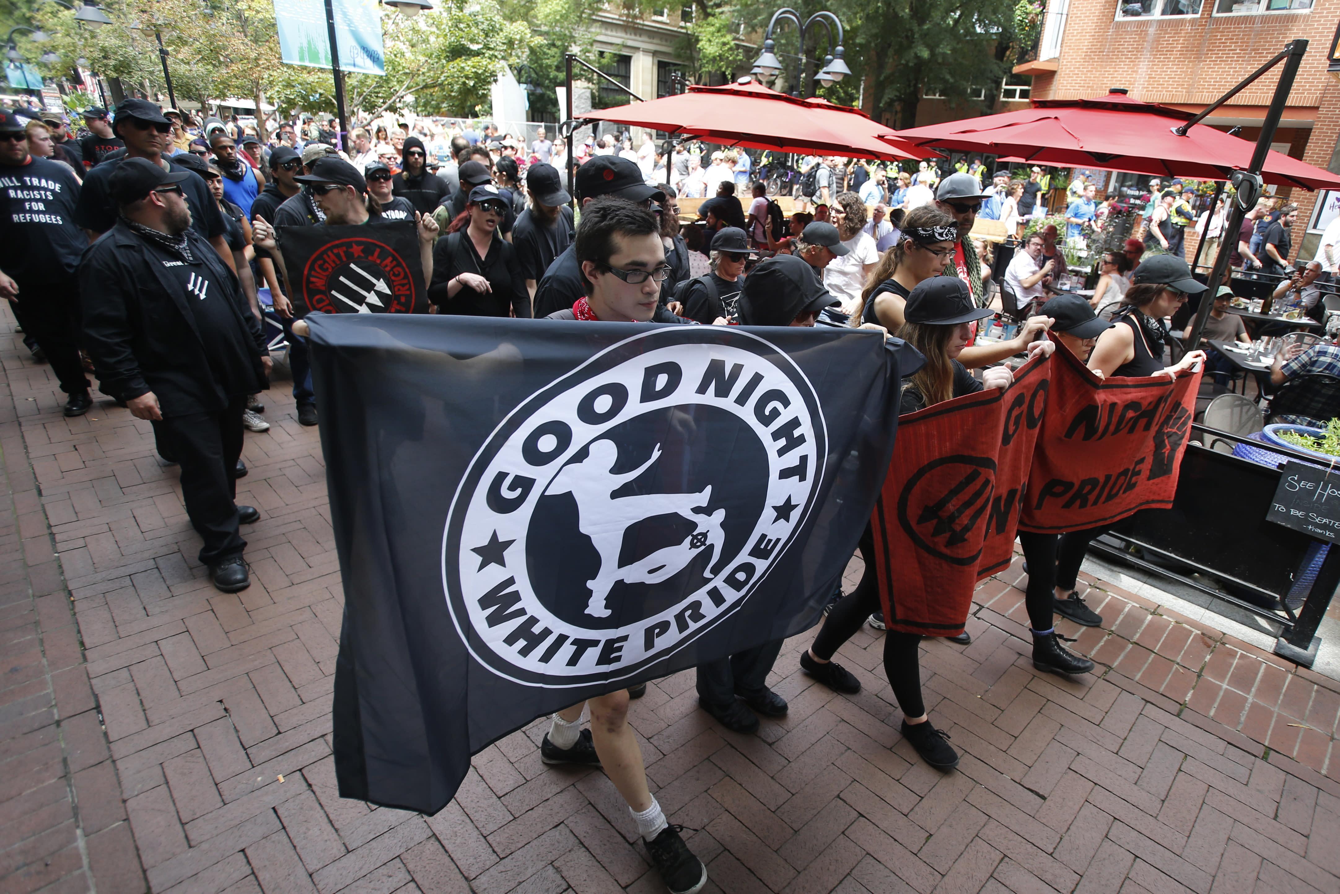 Latest: Anti-fascist demonstrators march in Charlottesville