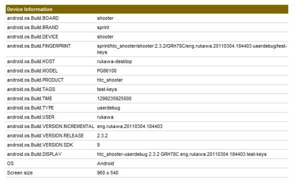HTC Shooter appears for Sprint with Android 2.3.2, qHD screen and dual-core CPU?
