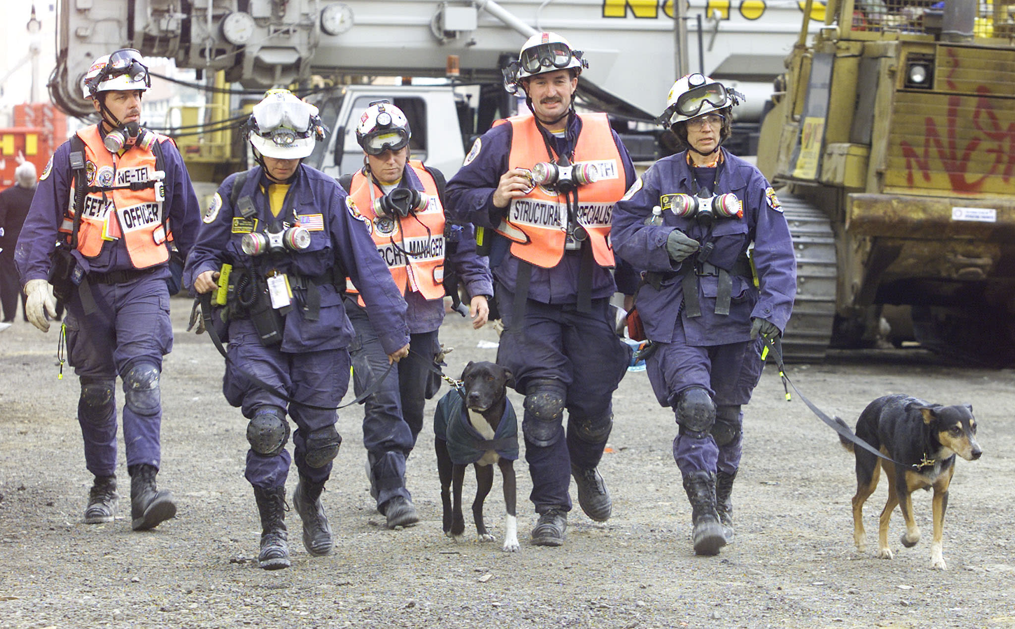 """A group of rescue workers with dogs leave the """"ground zero"""" site of the World Trade Center in New York City, September 29, 2001. (REUTERS/Jeff Christensen)"""