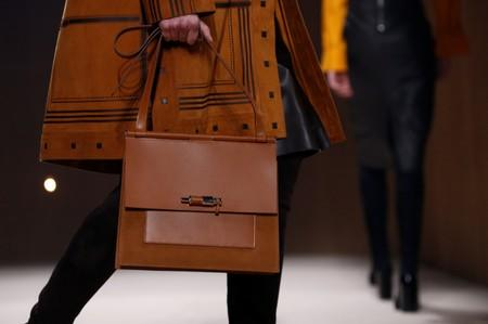 A bag is seen in detail as a model presents a creation by designer Nadege Vanhee-Cybulski as part of her Fall/Winter 2019-2020 women's ready-to-wear collection show for fashion house Hermes during Paris Fashion Week in Paris