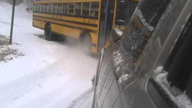 School Bus Snared by Icy Roads