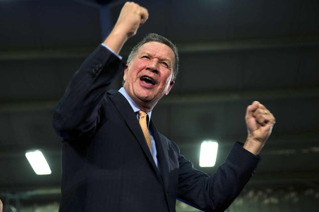 <p>Gov. John Kasich of Ohio enjoys the support at his presidential primary election rally in Berea, Ohio. Kasich won the Republican primary in Ohio. <i>(Photo: Matt Rourke/AP)</i></p>