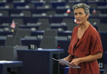 European Commissioner for Violation of EU Treaties Vestager addresses the European Parliament in Strasbourg, France, during a debate on Ireland's tax dealings with Apple Inc