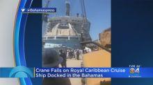 Construction crane falls onto Royal Caribbean cruise ship docked in the Bahamas