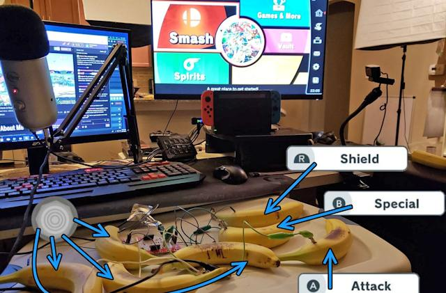 You can play 'Super Smash Bros. Ultimate' with banana controllers