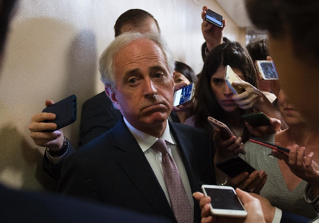 Republican Senator Bob Corker, pictured in July 2018 on Capitol Hill, demanded that the Trump administration issue a clear statement on whether Prince Mohammed was involved in Jamal Khashoggi's murder (AFP Photo/ANDREW CABALLERO-REYNOLDS)