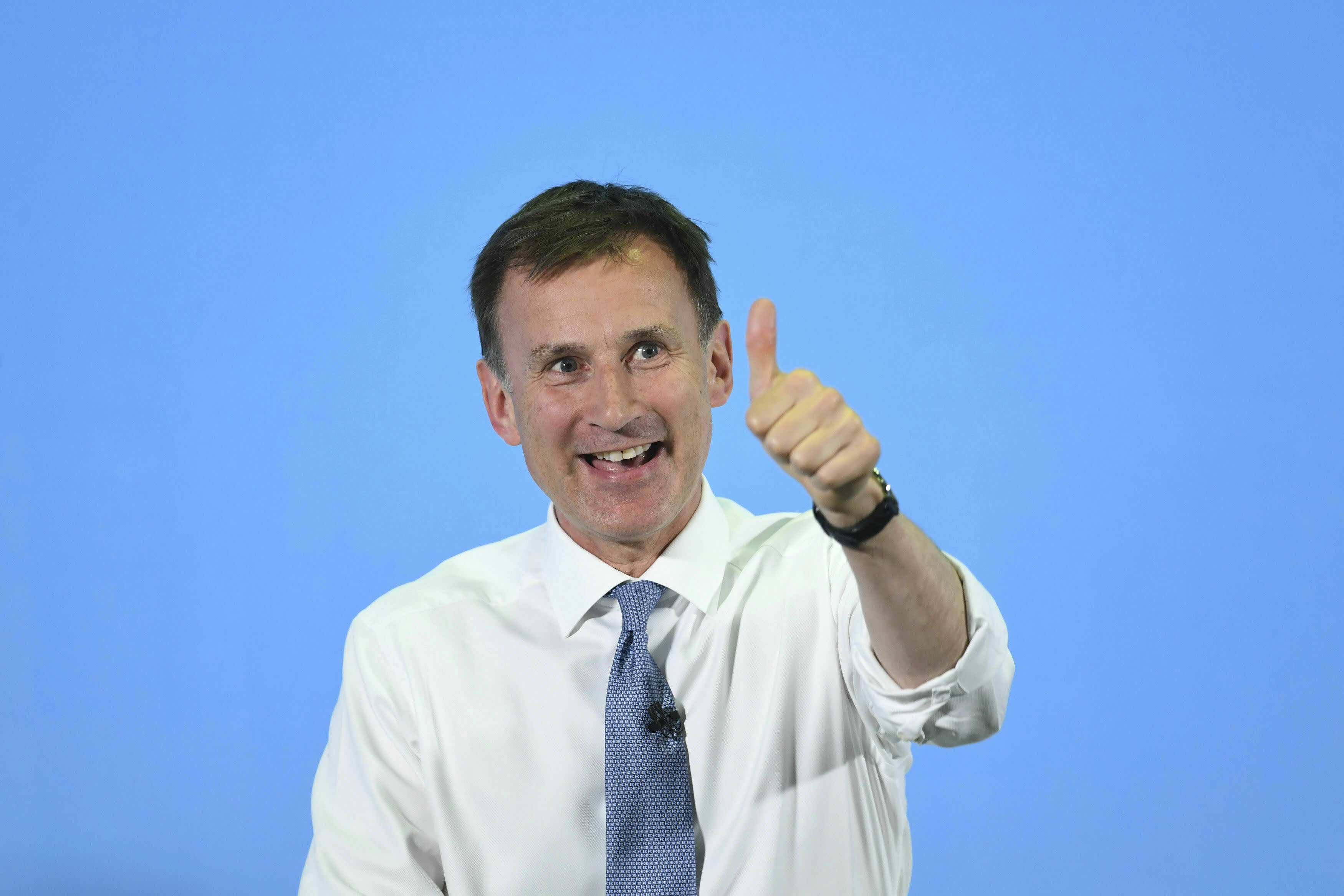 Conservative Party leadership candidate Jeremy Hunt during a Tory leadership hustings in Colchester, England, Saturday, July 13, 2019. (Joe Giddens/PA via AP)