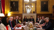 Theresa May sits down with all party leaders to discuss new 'grievance procedure' on sexual harassment in Westminster