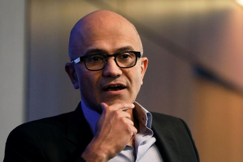 eafc4a39b727f Microsoft CEO Satya Nadella speaks during a Reuters Newsmaker event in New  York