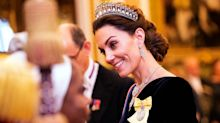 The Queen and Duchess of Cambridge welcome diplomats at Buckingham Palace
