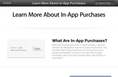 Apple posts 'Learn more about in-app purchases' in iTunes