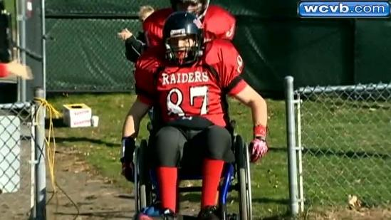 High School football player with cerebral palsy fulfills lifelong dream