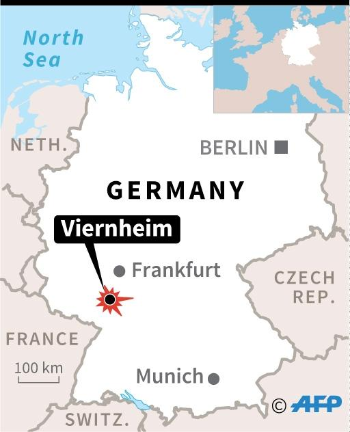 Map of Germany locating shooting incident at cinema in the German town of Viernheim. (AFP Photo/Alain Bommenel, Paz Pizarro)