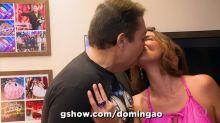 Faustão beija Luciana Cardoso no 'Domingão' e gera polêmica