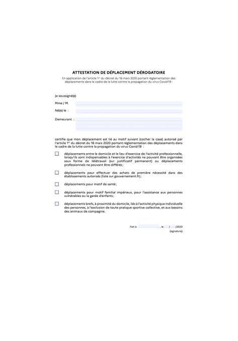 Coronavirus: l'attestation que vous devrez imprimer pour ...