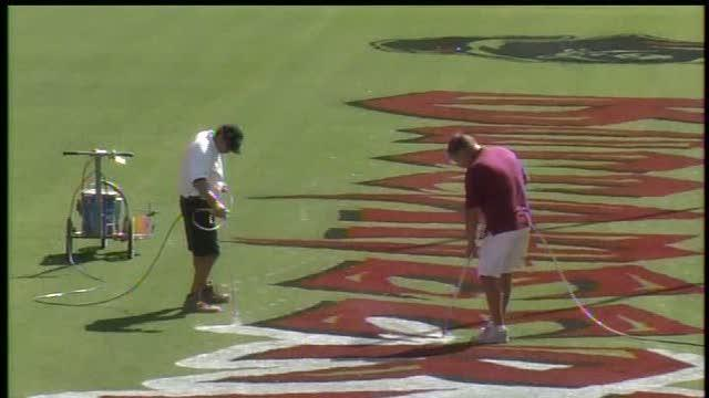 Back-to-back games make painting RayJay field difficult