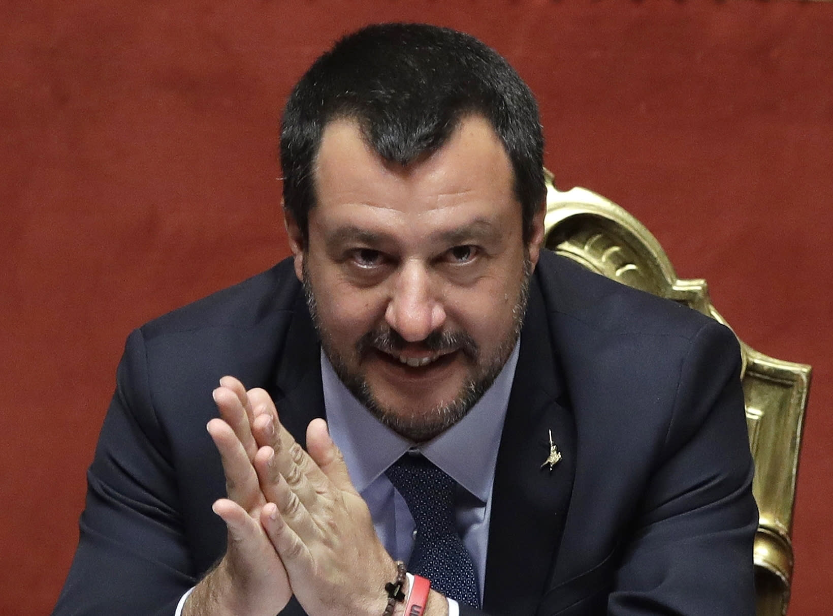 FILE - In this file photo dated Wednesday, March 20, 2019, Italian Interior Minister Matteo Salvini at the Italian Senate, in Rome. Migrants hijacked a cargo ship in Libyan waters on Wednesday March 27, 2019, and have forced the crew to reroute the vessel north toward Europe, and Italian Interior Minister Salvini said the ship, was carrying around 120 migrants, but Italian authorities vowed they would not allow it into their territorial waters. (AP Photo/Alessandra Tarantino, FILE)
