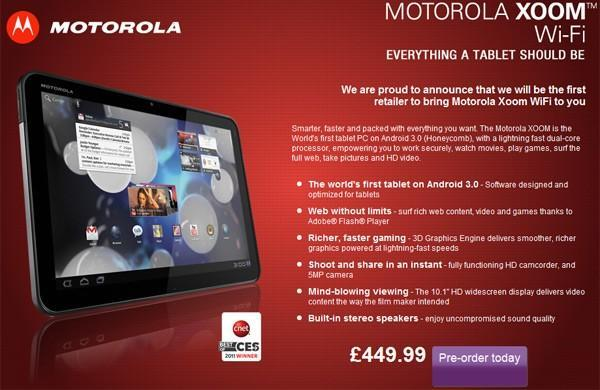 Motorola prices WiFi-only Xoom at £500 in the UK (update: €700 in Germany with 3G)