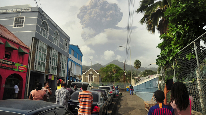 Thousands evacuated after Caribbean volcano blows