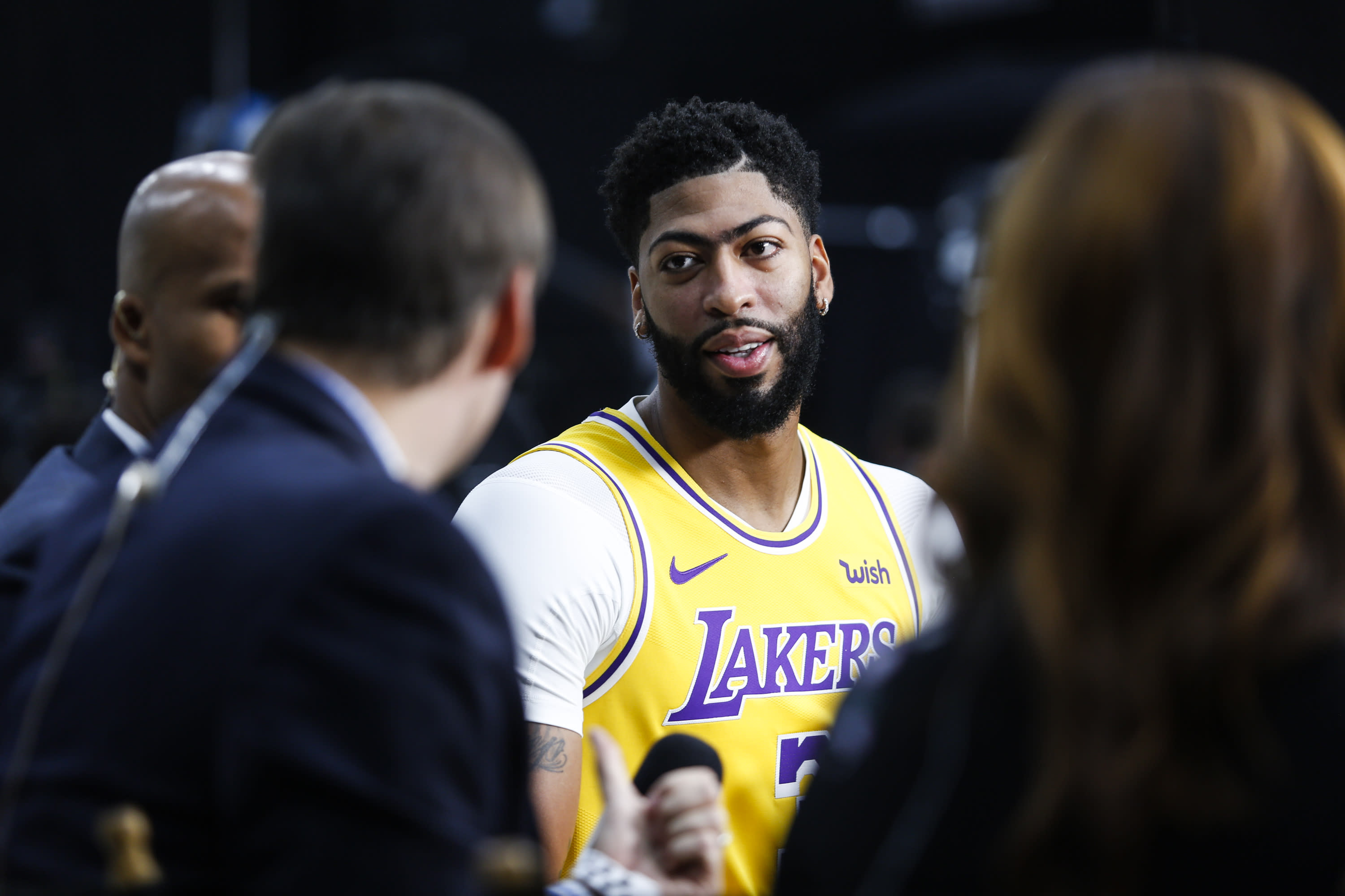 Los Angeles Lakers forward Anthony Davis attends the NBA basketball team's media day in El Segundo, Calif., Friday, Sept. 27, 2019. (AP Photo/Ringo H.W. Chiu)