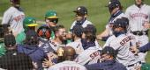 Sunday's brawl between the Astros and A's. (Getty Images)