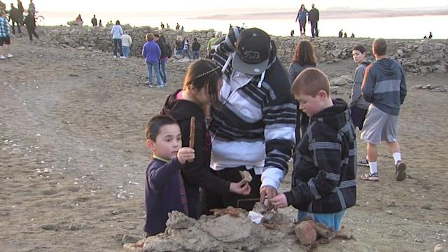 Thousands Converge On Discovered Lake Bed Ruins