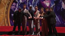 Six 'Avengers' actors honored with handprint ceremony.