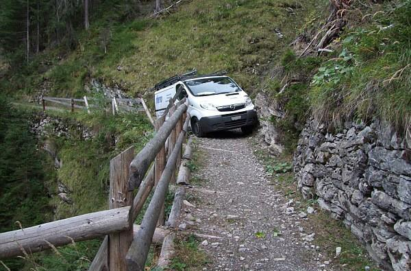 Swiss van driver gets stuck up a 'glorified goat track,' blames GPS