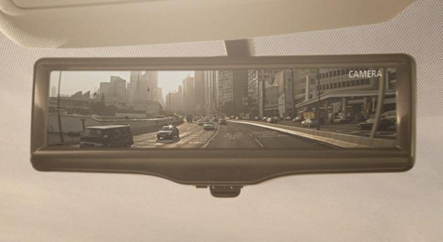 Nissan's camera-equipped rearview mirror provides a clear view in low light