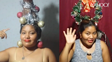 Chica se vuelve viral por sus peinados navideños
