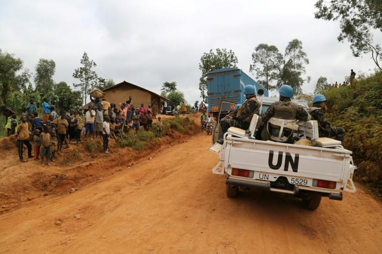 UN soldiers patrol in the violence-torn Djugu territory of Ituri province in eastern DR Congo in March 2020