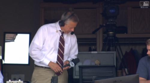 Thom Brennaman interviews a bird during a Reds game. (MLB.com Screenshot)