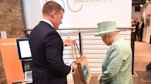 'You can't cheat them?' Queen is introduced to self-service check-outs at Sainsbury's