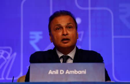 FILE PHOTO: Anil Ambani, chairman of the Reliance Anil Dhirubhai Ambani Group, addresses shareholders during the company's annual general meeting in Mumbai, India, September 18, 2018. REUTERS/Francis Mascarenhas