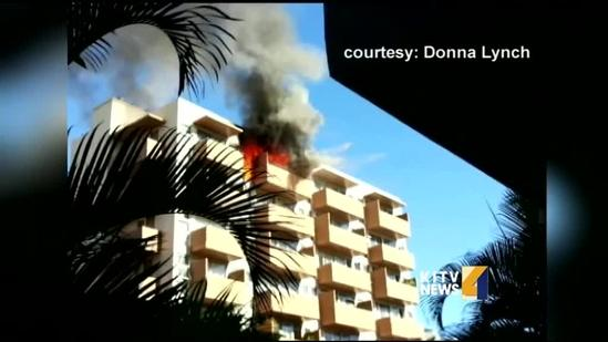 Flames engulf top floor unit of a Waikiki apartment building