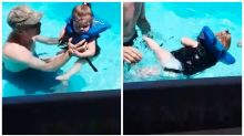 Terrifying footage shows toddler almost drowning while wearing a floatie