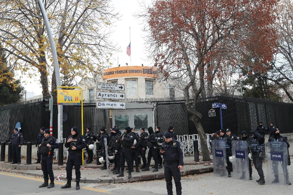 "The US embassy in the Turkish capital Ankara will be closed to the public on Monday over a ""security threat"", the mission announced on its website.  Relations between NATO allies Washington and Ankara are strained over a number of issues, notably the US arming of a Syrian Kurdish militia, the"