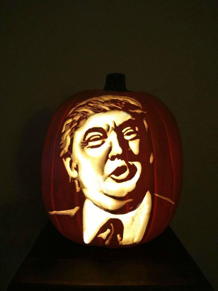 "<p>Alright, Trumpkin, now you're just showing off. And this is some excellent artistry! <i>(Photo: Valerie Miller via <a href=""https://www.pinterest.com/pin/395402042264030617/"" rel=""nofollow noopener"" target=""_blank"" data-ylk=""slk:Pinterest"" class=""link rapid-noclick-resp"">Pinterest</a>)</i></p>"