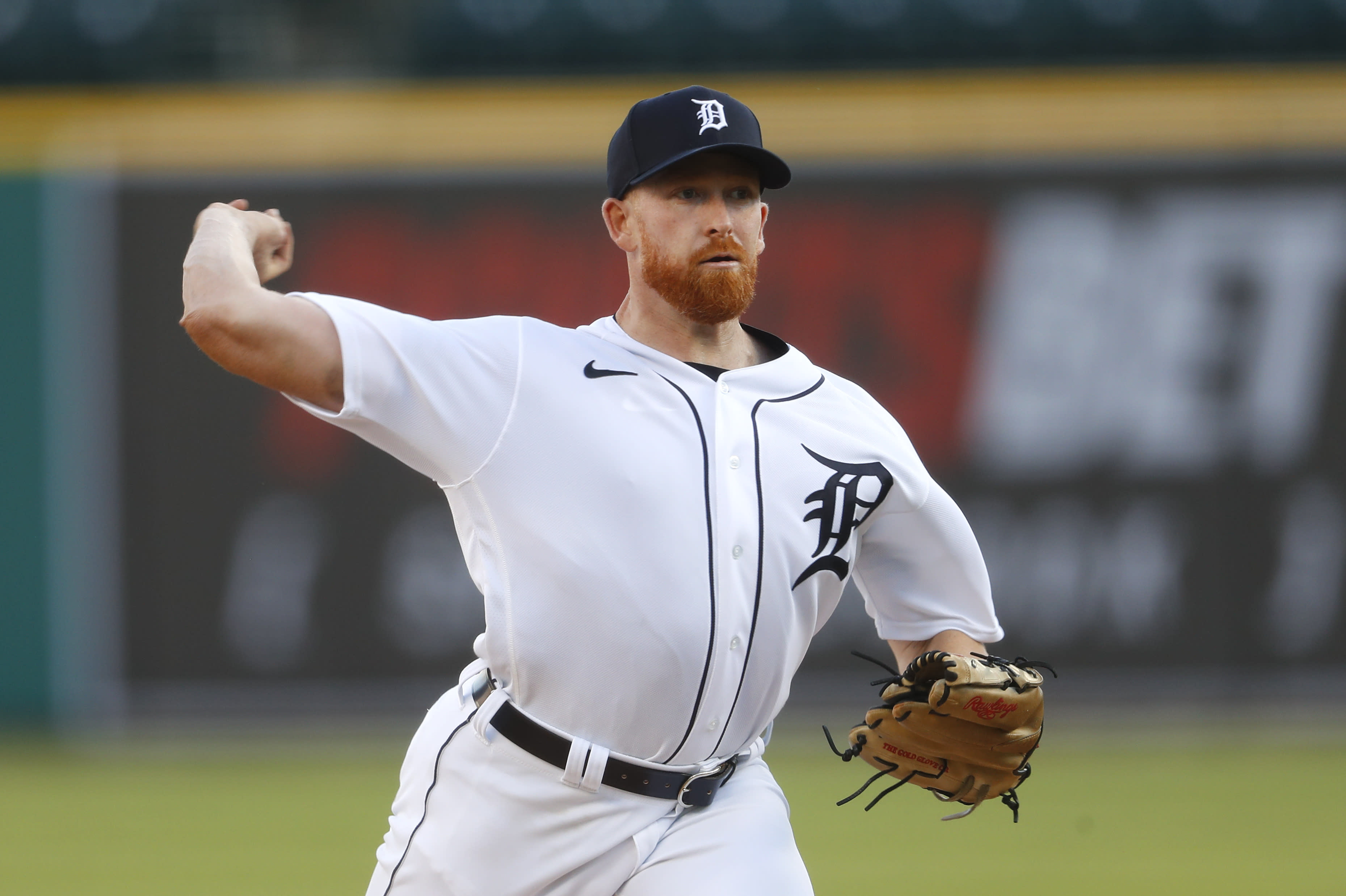 Detroit Tigers pitcher Spencer Turnbull throws against the Cincinnati Reds in the second inning of a baseball game in Detroit, Friday, July 31, 2020. (AP Photo/Paul Sancya)