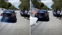 Mercedes Benz goes up in flames after burnout goes wrong