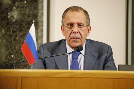 Russia's Foreign Minister Sergei Lavrov talks during a news conference after a bilateral meeting with Finland's Foreign Minister Timo Soini at Oulu City Hall, October 14, 2015. REUTERS/Timo Heikkala/Lehtikuva