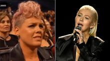 Pink Praises Christina Aguilera After AMAs Cameras Catch Her Making a Face During Whitney Houston Tribute