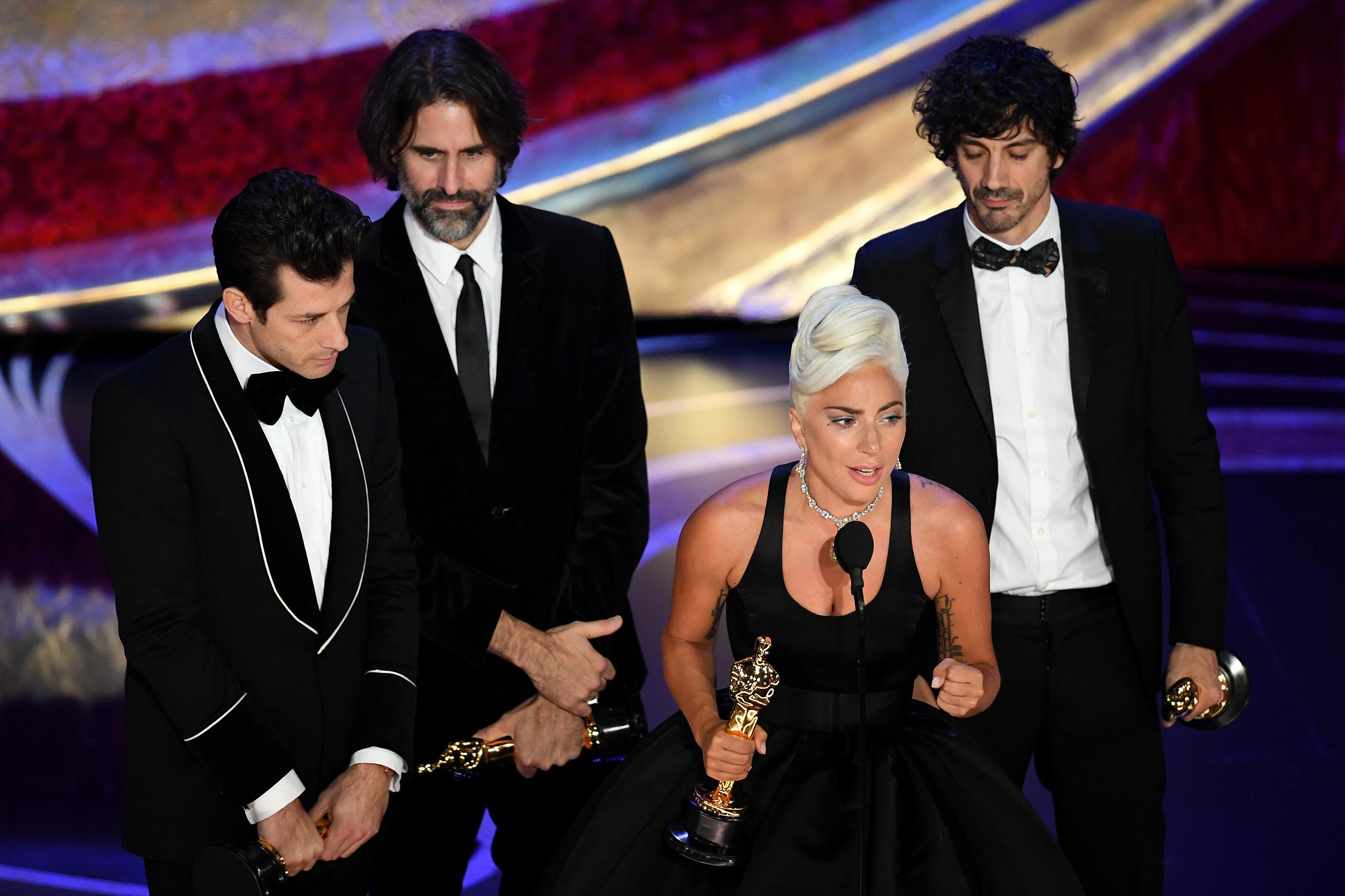 HOLLYWOOD, CALIFORNIA - FEBRUARY 24: (L-R) Mark Ronson, Andrew Wyatt, Lady Gaga, and Anthony Rossomando accept the Music (Original Song) award for 'Shallow' from 'A Star Is Born' onstage during the 91st Annual Academy Awards at Dolby Theatre on February 24, 2019 in Hollywood, California. (Photo by Kevin Winter/Getty Images)