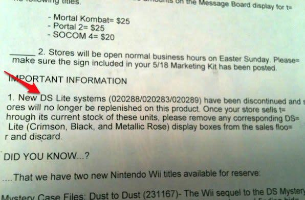 DS Lite discontinued at GameStop