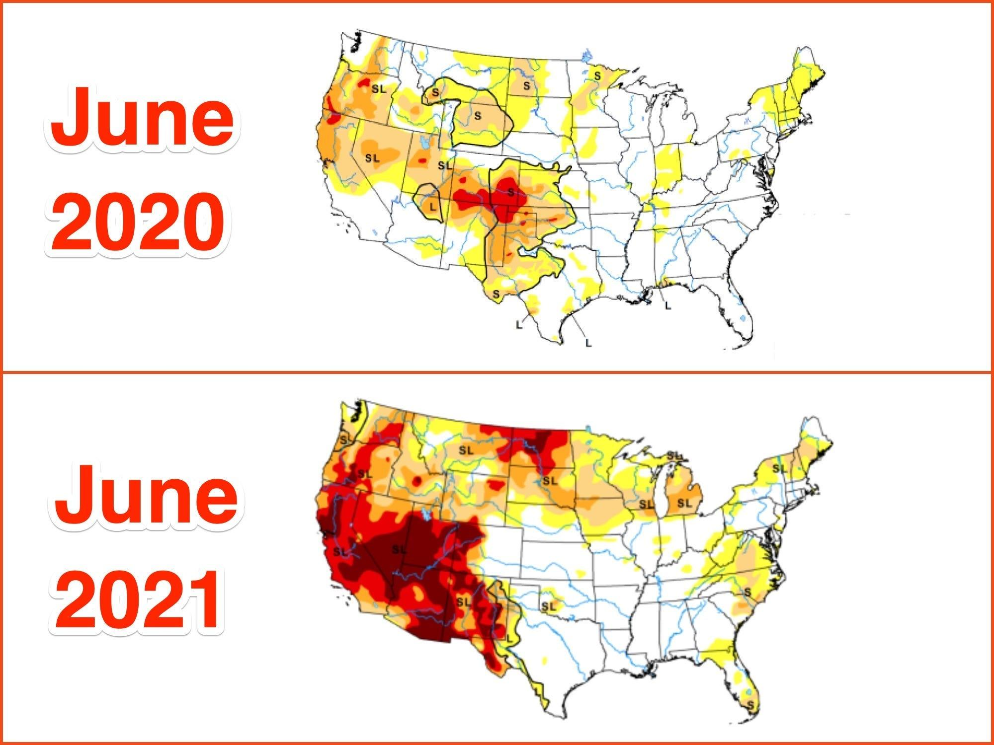 Drought maps show the western US at its driest in 20 years - a ticking time bomb for even more fires and power failures