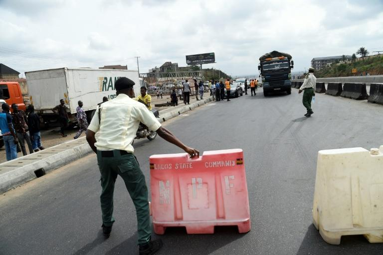 Road block: Lagos, Africa's biggest city, has been in lockdown since March 31