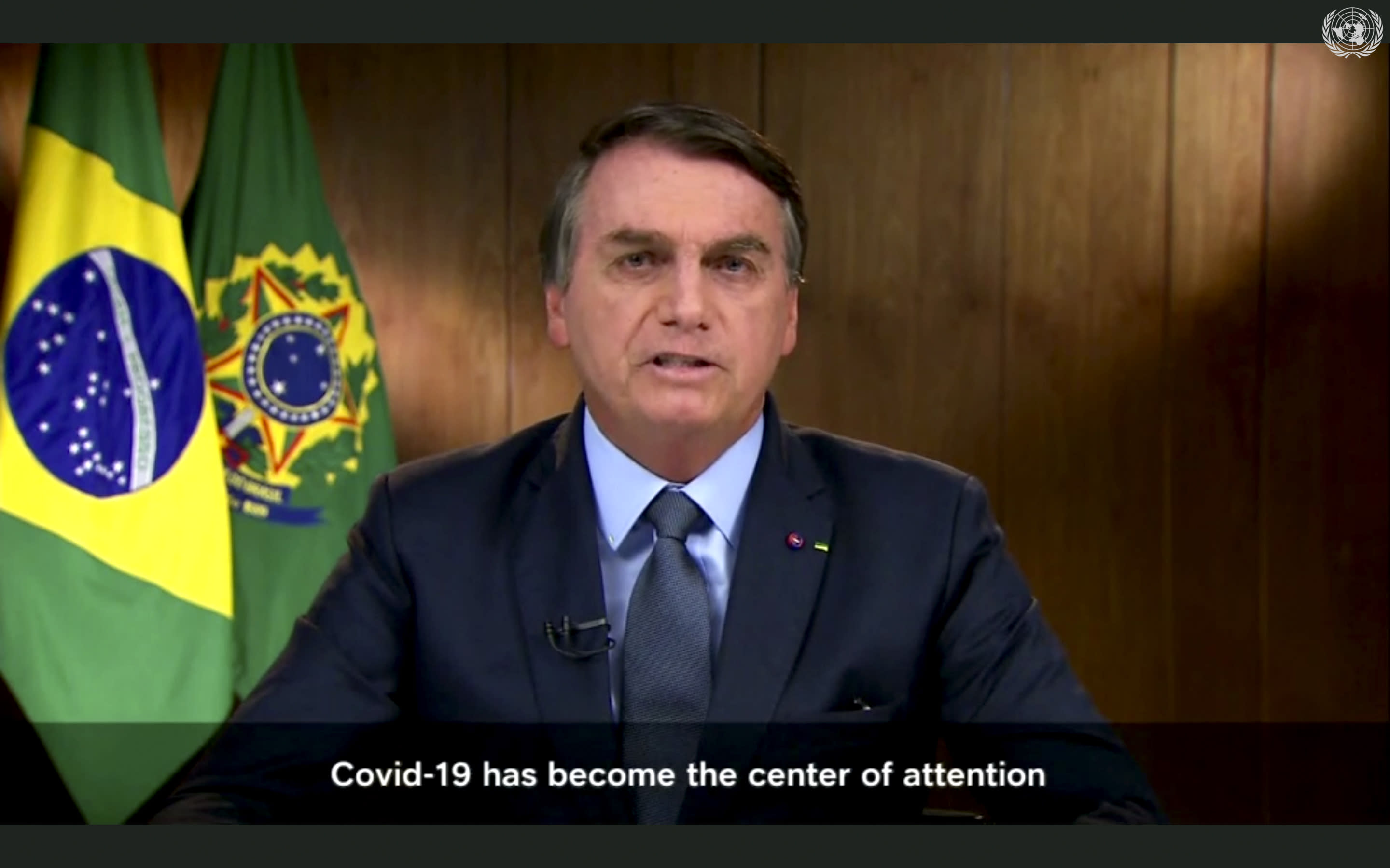 In this image made from UNTV, Brazilian President Jair Bolsonaro speaks in a pre-recorded message which was played during the 75th session of the United Nations General Assembly, Tuesday, Sept. 22, 2020, at U.N. headquarters in New York. The U.N.'s first virtual meeting of world leaders started Tuesday with pre-recorded speeches from some of the planet's biggest powers, kept at home by the coronavirus pandemic that will likely be a dominant theme at their video gathering this year. (UNTV via AP )